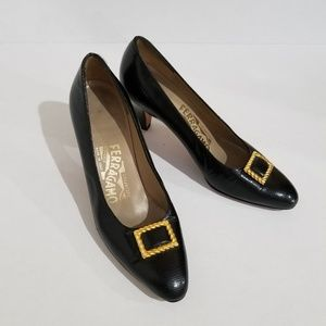Ferragamo black pumps buckle detail 6 1/2